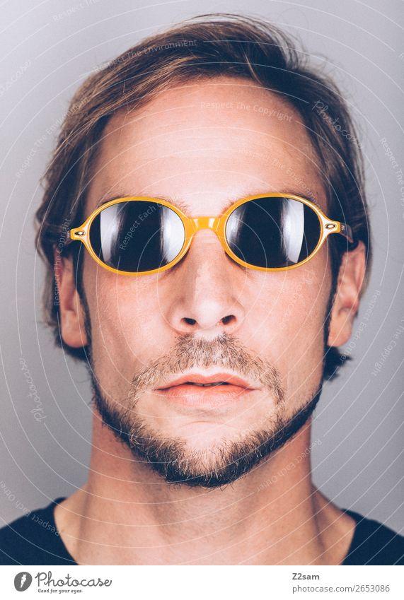 Sunglasses Jugendliche schön Junger Mann 18-30 Jahre Lifestyle Erwachsene gelb Stil Mode maskulin elegant einzigartig Coolness Wandel & Veränderung trendy Bart