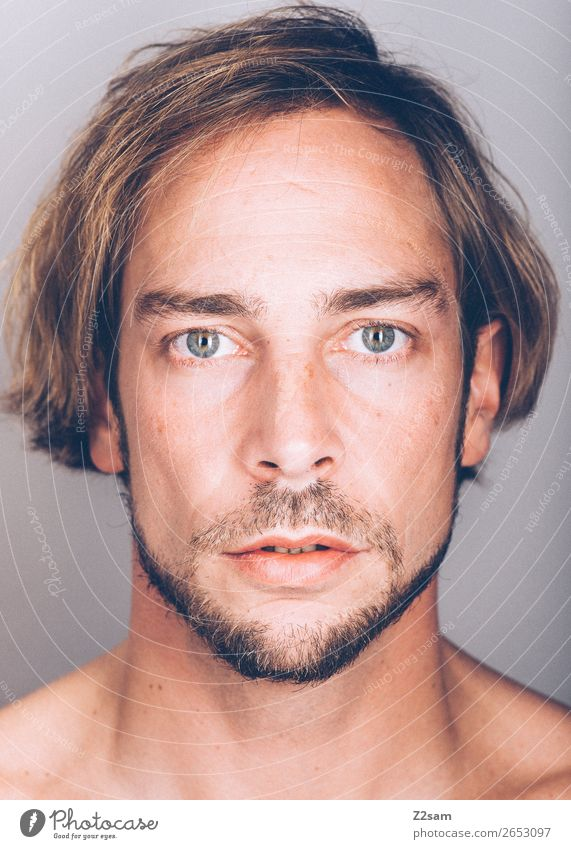 Facetime - natural schön Gesicht maskulin Junger Mann Jugendliche 18-30 Jahre Erwachsene 30-45 Jahre brünett langhaarig Bart natürlich Originalität Kraft