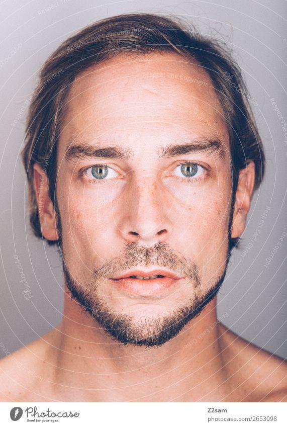 Facetime - natural maskulin Junger Mann Jugendliche 18-30 Jahre Erwachsene Haare & Frisuren brünett langhaarig Bart Blick einfach schön natürlich Menschlichkeit