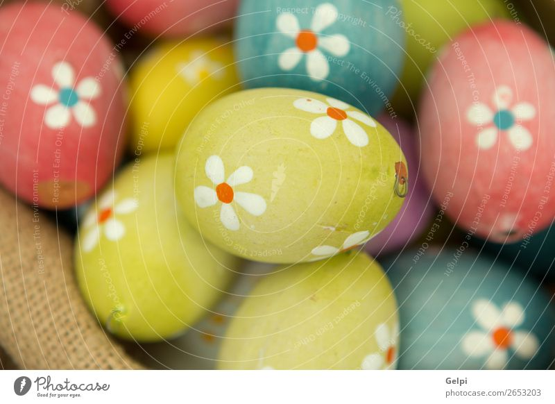 Bunte Ostereier mit Blumen bemalt Design Glück schön Dekoration & Verzierung Feste & Feiern Ostern Menschengruppe Natur Frühling Holz natürlich blau grün rosa