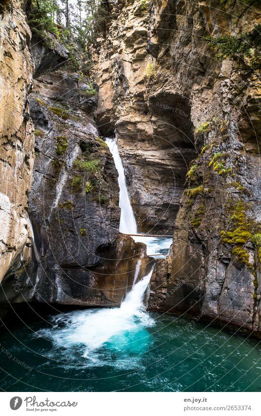 Einschneident Ferien & Urlaub & Reisen Natur Wasser Landschaft Felsen Ausflug Urelemente Schlucht Wasserfall Kanada Nordamerika Alberta Banff National Park