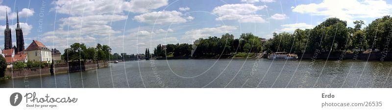 Weites Breslau Baum Fluss Wasser Himmel