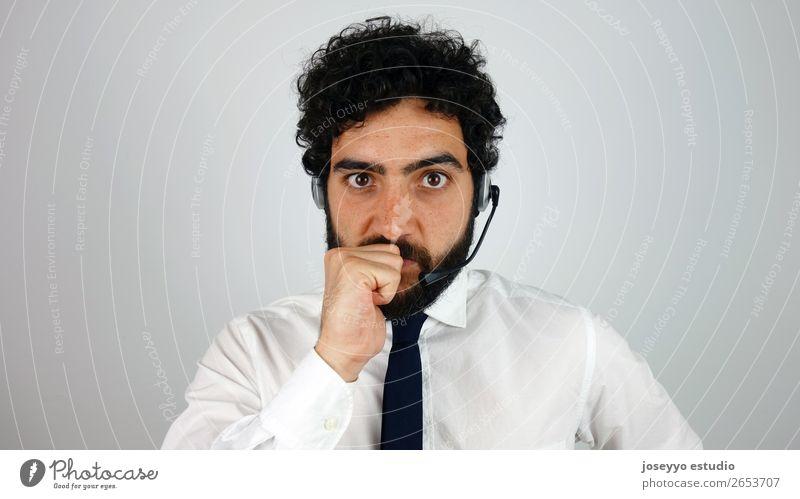 Praktischer Berater des Call Centers ausrichten Agent Unterstützung Business Callcenter Klient Mitteilung Kunde Zweifel Exekutive Gesicht Kopfhörer
