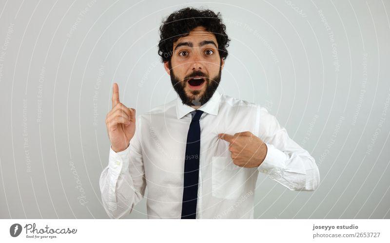 Gute Idee! Lifestyle elegant Arbeit & Erwerbstätigkeit Beruf Telekommunikation Erfolg sprechen Mann Erwachsene Finger 30-45 Jahre Hemd Krawatte Locken
