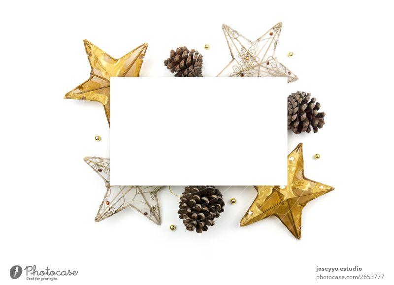 Kreatives Weihnachtslayout. Design Glück Winter Dekoration & Verzierung Feste & Feiern Handwerk oben gold weiß Kreativität Hintergrund Transparente blanko
