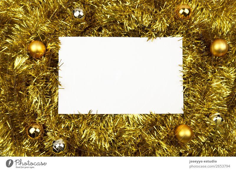 Weiße Karte mit Kopierraum auf goldenem Flitter. Design Glück Winter Dekoration & Verzierung Feste & Feiern Silvester u. Neujahr Schnur einfach oben weiß