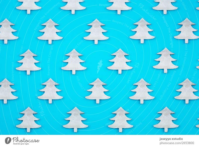 Blauer Hintergrund. Flachliegende Draufsicht. Design Winter Dekoration & Verzierung Feste & Feiern Handwerk Papier einfach oben blau weiß Kreativität