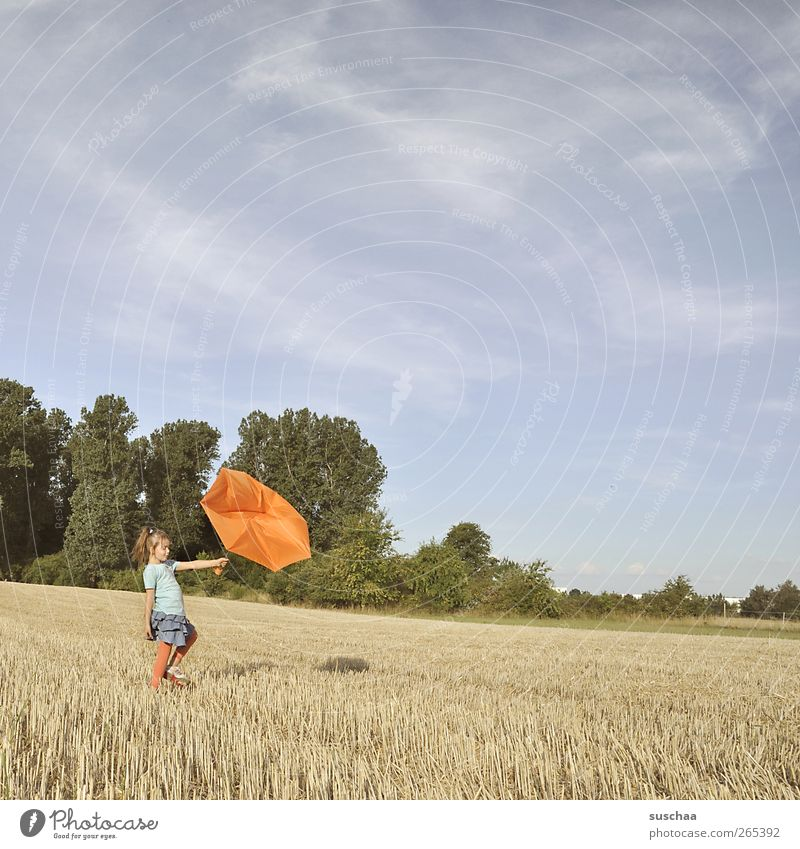 ist nicht immer ein bisschen april? feminin Kind Mädchen Kindheit 1 Mensch 3-8 Jahre Umwelt Natur Himmel Sommer Wetter Schönes Wetter Feld Fröhlichkeit kaputt