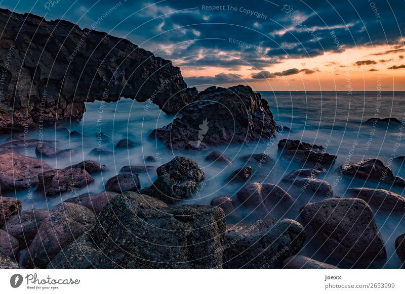 Bereit Natur Landschaft Wasser Himmel Wolken Sonnenaufgang Sonnenuntergang Felsen Wellen Küste Meer eckig groß maritim weich blau braun orange schwarz Fernweh