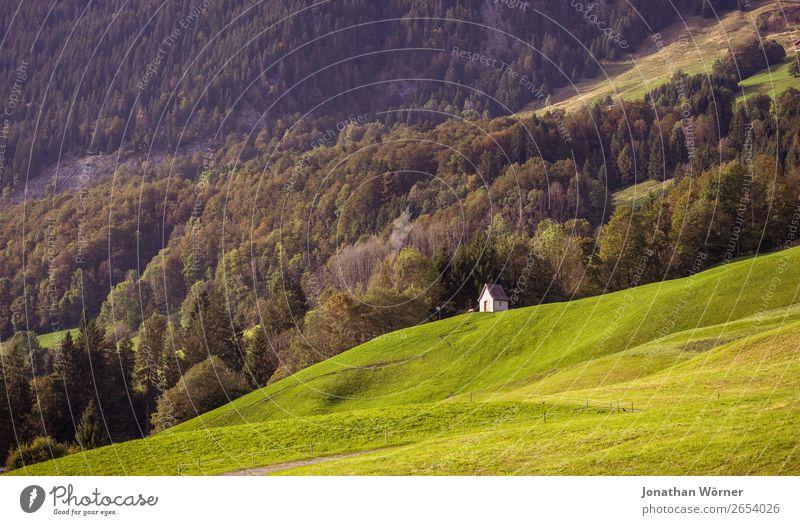 Chapel Ferien & Urlaub & Reisen Ausflug Abenteuer Berge u. Gebirge wandern Natur Landschaft Pflanze Sommer Herbst Baum Gras Wiese Wald Hügel Alpen Hütte Kapelle