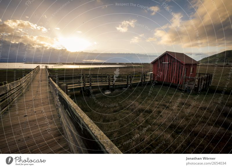 Sunset idyll Ferien & Urlaub & Reisen Ausflug Abenteuer Ferne Freiheit Meer Haus Natur Landschaft Wasser Himmel Wolken Horizont Sonne Sonnenaufgang