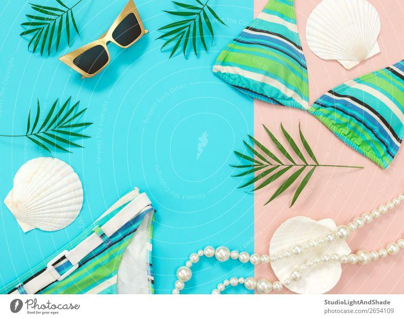 Sommermode flach auf blauem und rosa Hintergrund liegend Reichtum elegant Stil Design exotisch schön Ferien & Urlaub & Reisen Strand Meer feminin Pflanze Baum