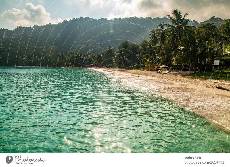 paradies | perhentian besar Sonne romantisch genießen Sehnsucht Sonnenstrahlen Gegenlicht Himmel Morgendämmerung Sonnenaufgang Sonnenuntergang Strand träumen