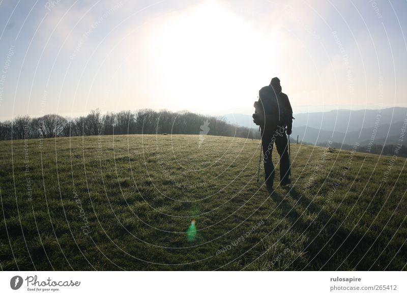 Appalachian Trail (untitled) #8 Ferne Freiheit Berge u. Gebirge wandern 1 Mensch Umwelt Natur Landschaft Himmel Sonne Sonnenlicht Frühling Schönes Wetter Gras