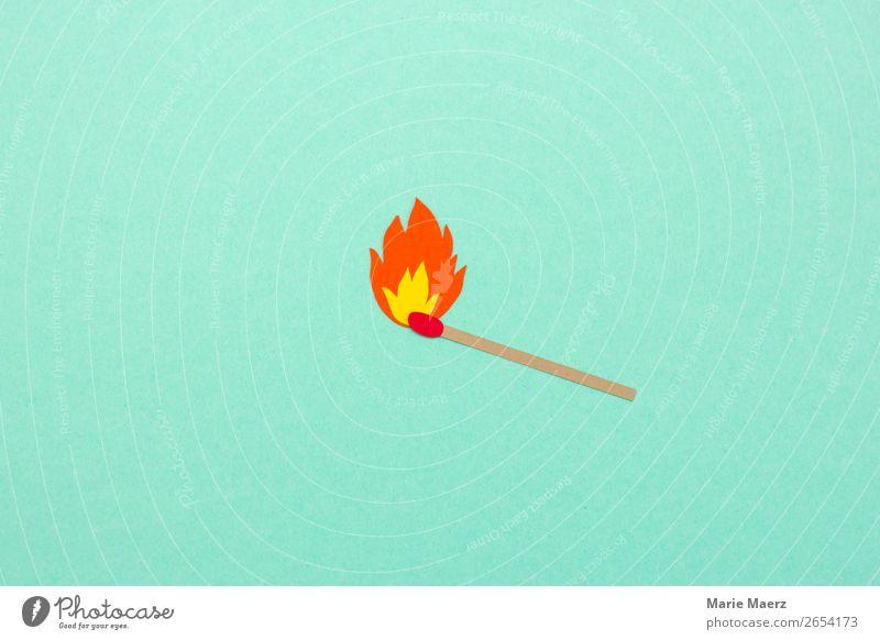 Streichholz mit Flamme Zeichen leuchten einfach heiß hell neu türkis Kraft gefährlich Energie Idee kalt Kreativität Risiko Schutz brennen Feuer brandneu Impuls