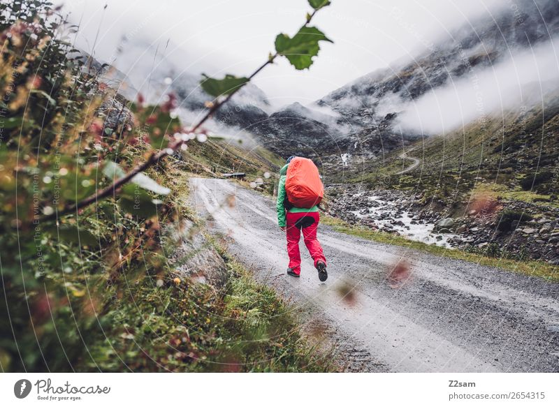 Aufstieg zur Braunschweiger Hütte | E5 Abenteuer Expedition Berge u. Gebirge wandern Mensch Natur Landschaft Wolken Herbst schlechtes Wetter Nebel Alpen