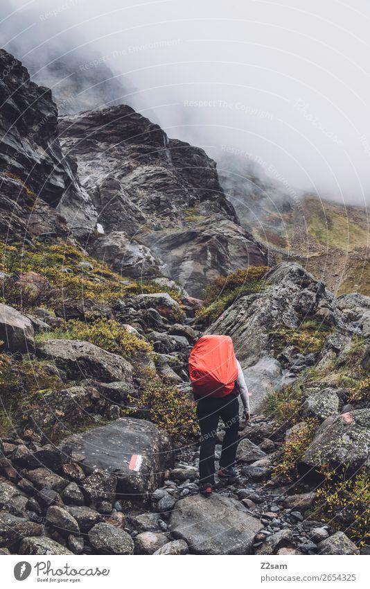Aufstieg zur Braunschweiger Hütte | E5 Ferien & Urlaub & Reisen Abenteuer wandern Mensch Natur Landschaft Herbst schlechtes Wetter Nebel Alpen Berge u. Gebirge