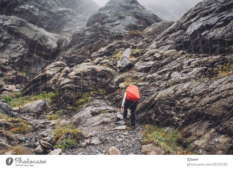 Aufstieg zur Braunschweiger Hütte | E5 Ferien & Urlaub & Reisen Abenteuer Berge u. Gebirge wandern Mensch Natur Landschaft Herbst schlechtes Wetter Nebel Felsen