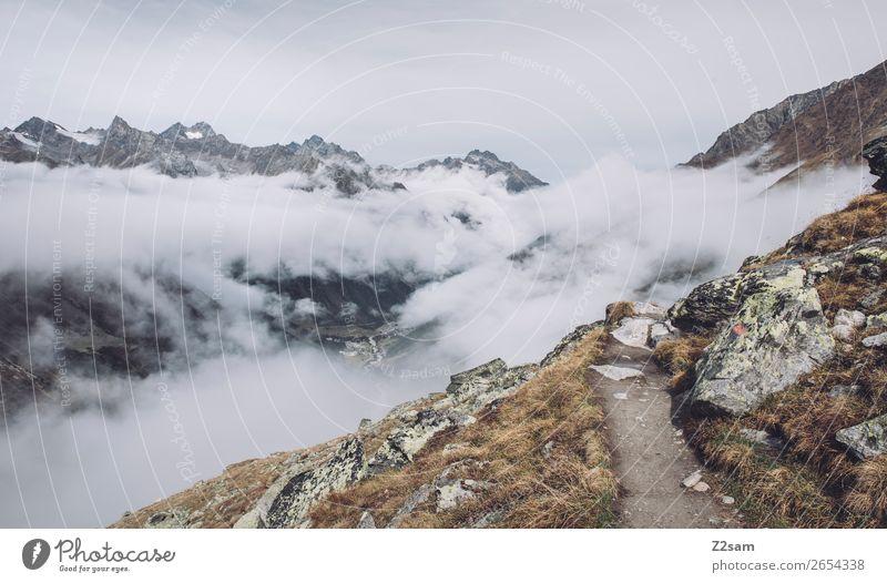 Aufstieg zur Braunschweiger Hütte | E5 Ferien & Urlaub & Reisen Abenteuer Berge u. Gebirge wandern Natur Landschaft Herbst schlechtes Wetter Nebel Alpen