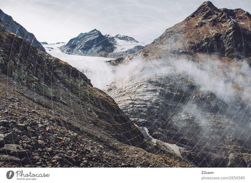 Pitztaler Gletscher | E5 Abenteuer Berge u. Gebirge wandern Natur Landschaft Wolken Herbst schlechtes Wetter Nebel Alpen Gipfel gigantisch hoch Einsamkeit