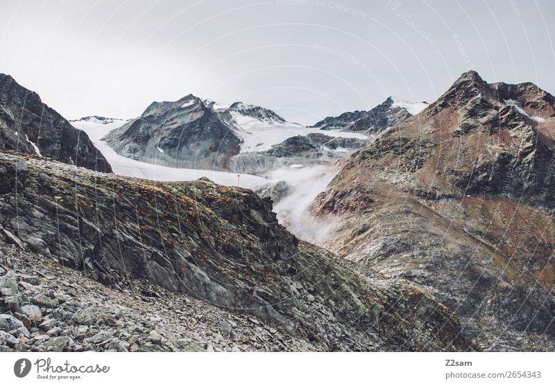 Pitztaler Gletscher | E5 Berge u. Gebirge wandern Natur Landschaft Wolken Herbst Felsen Alpen Gipfel gigantisch hoch nachhaltig Einsamkeit entdecken