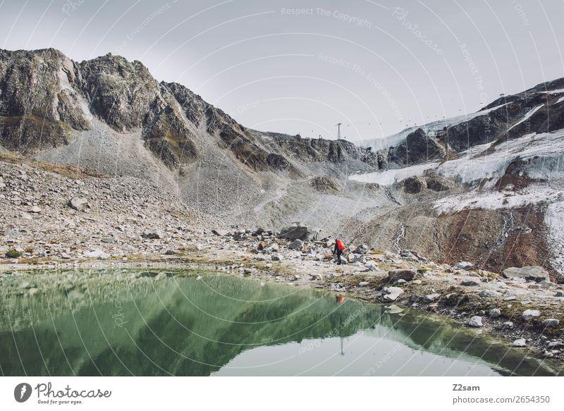 Wanderer am Rettenbachgletscher Abenteuer Expedition Berge u. Gebirge wandern Mensch Natur Landschaft schlechtes Wetter Nebel Alpen Gletscher See Rucksack