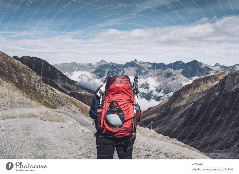 Blick Richtung Sölden | Rettenbachgletscher | E5 Ferien & Urlaub & Reisen Abenteuer Expedition wandern feminin Natur Landschaft Himmel Wolken Herbst Alpen