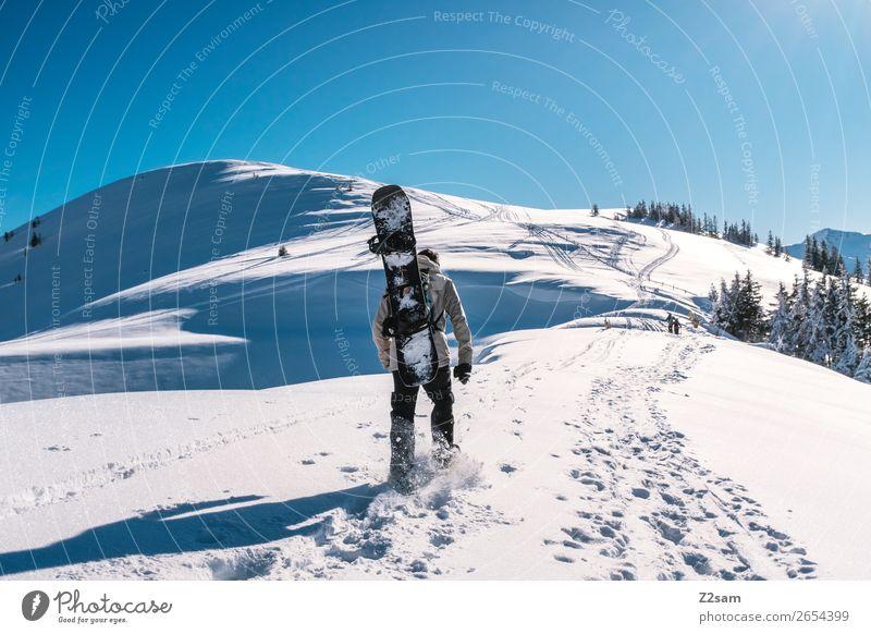 Tourengeher | Freeride Berge u. Gebirge wandern Wintersport Snowboard maskulin Natur Landschaft Himmel Sommer Schönes Wetter Schnee Alpen gehen Sport Coolness