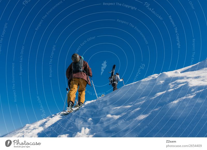 Tourengeher | Freerider Ferien & Urlaub & Reisen Natur blau Landschaft Erholung Winter Berge u. Gebirge Umwelt Schnee Sport Zusammensein Freundschaft gehen