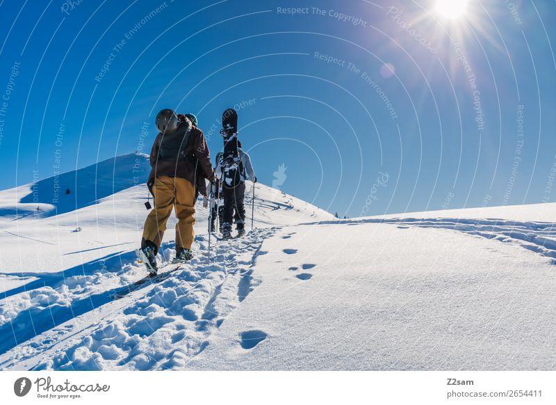 Tourengeher | Aufstieg Stil Ferien & Urlaub & Reisen Freiheit Winter Schnee Berge u. Gebirge Wintersport Skifahren Snowboard maskulin 2 Mensch Natur Landschaft