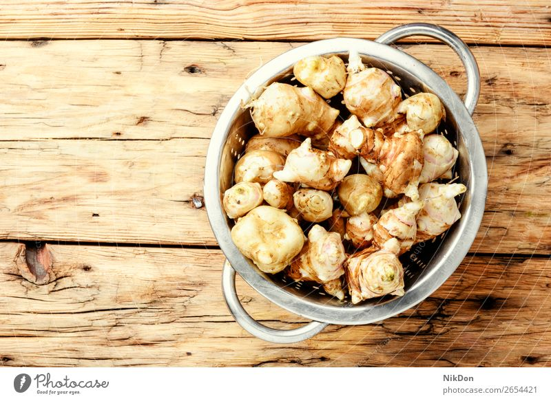 Rohe Topinambur-Artischocken Gemüse Wurzel Lebensmittel roh jerusalem Sonnenwurz Gesundheit rustikal Knolle Helianthus Erde Ernte Kartoffel Makro