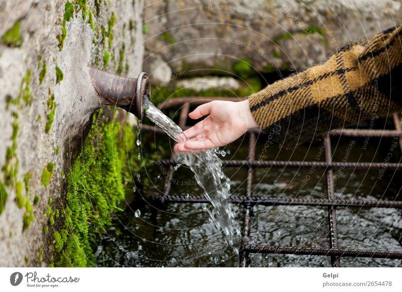 Handkontakt mit Wasser aus einem Naturbrunnen Winter Schnee Berge u. Gebirge Kind Mensch Frau Erwachsene Finger Moos Bach Mantel Stein Tropfen frisch natürlich