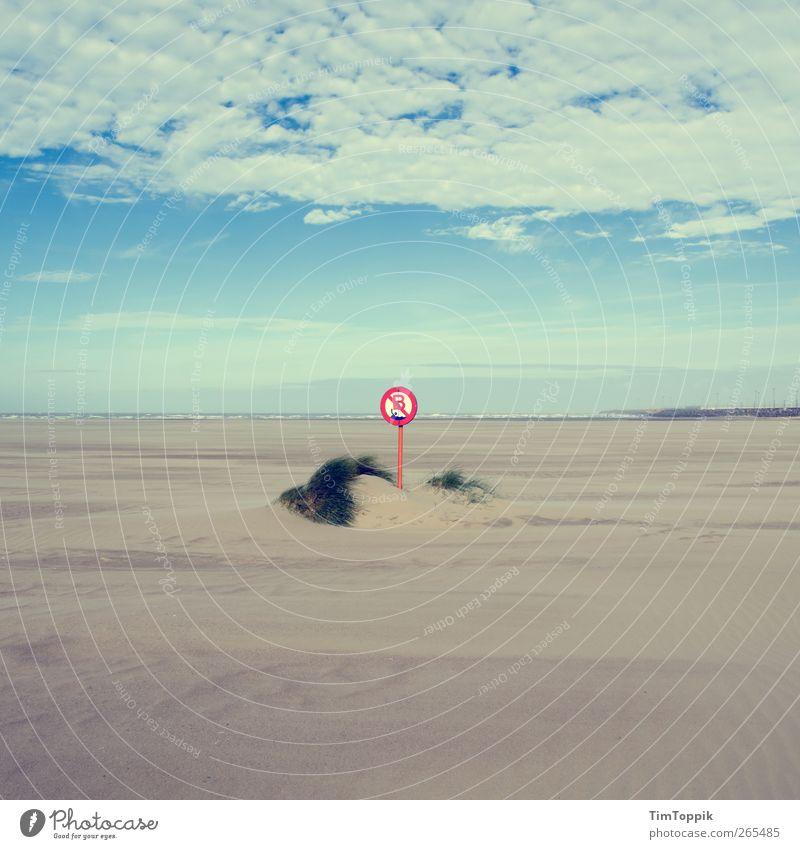 Baden verboten Nordsee Ostsee Meer Erholung Ferien & Urlaub & Reisen Küste Strand Blauer Himmel Schilder & Markierungen Verbote Sand Stranddüne Nordseeküste