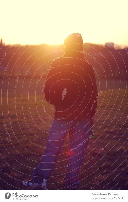 sonntags. maskulin Junger Mann Jugendliche 1 Mensch 18-30 Jahre Erwachsene Sonne Sonnenaufgang Sonnenuntergang Sonnenlicht Schönes Wetter Rasen Park