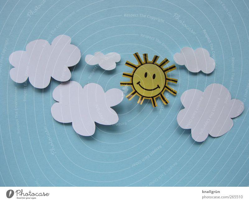 Sonnenschein Himmel Wolken Lächeln leuchten Freundlichkeit Fröhlichkeit blau gelb weiß Gefühle Freude Kreativität Lebensfreude Altokumulus floccus himmelblau
