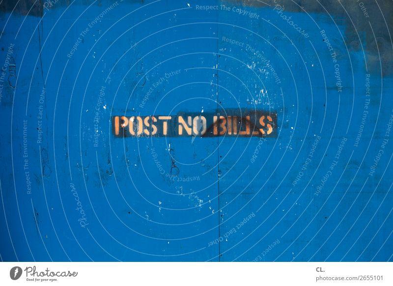 post no bills Baustelle New York City USA Stadt Menschenleer Mauer Wand Barriere Holz Schriftzeichen Hinweisschild Warnschild alt dreckig kaputt blau Verbote