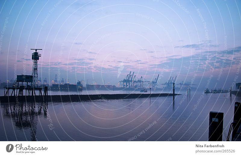 Blauschimmer Himmel Natur blau Wasser Stadt Winter Wolken Erholung kalt Küste Stein rosa Hamburg Hoffnung Fabrik Hafen