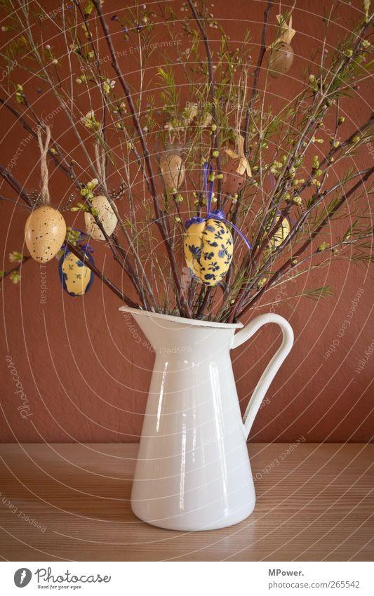 frohe ostern weiß Pflanze Wand Gras Feste & Feiern braun Tisch Dekoration & Verzierung Sträucher Ostern violett Blumenstrauß Ei Feiertag Vase bemalt