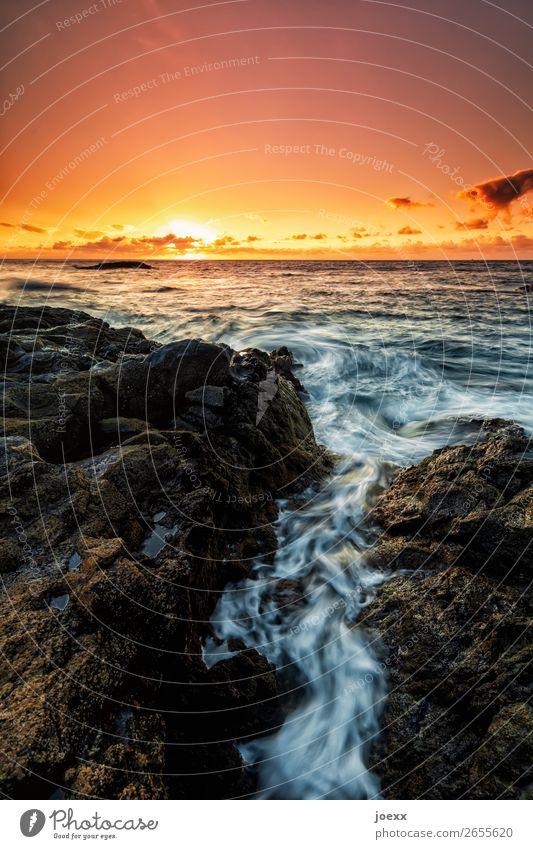 Was Du träumst Ferne Sommer Meer Natur Himmel Wolken Schönes Wetter Felsen Wellen Küste Insel La Palma maritim Wärme braun orange schwarz weiß Fernweh Horizont