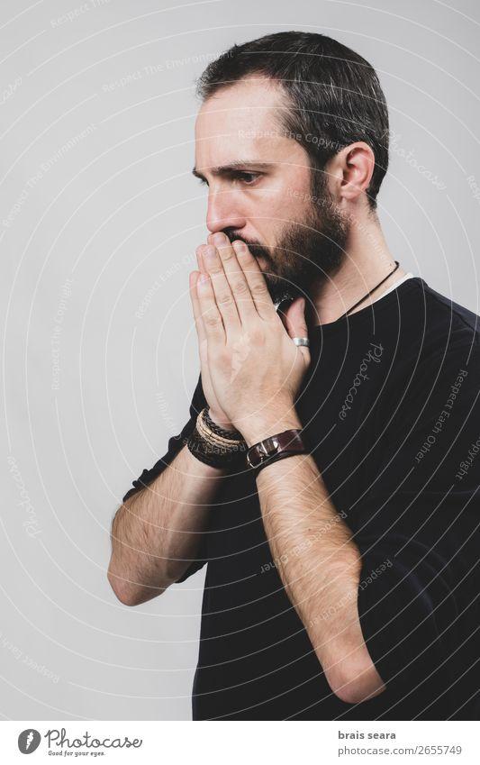 Mensch Mann Hand Einsamkeit schwarz Gesicht Lifestyle Erwachsene Traurigkeit Gefühle Gesundheitswesen Kopf Denken Angst maskulin modern