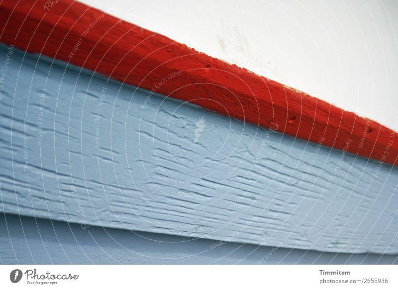 Boot, Teilansicht blau weiß rot Holz Linie ästhetisch einfach Schifffahrt Dänemark Fischerboot