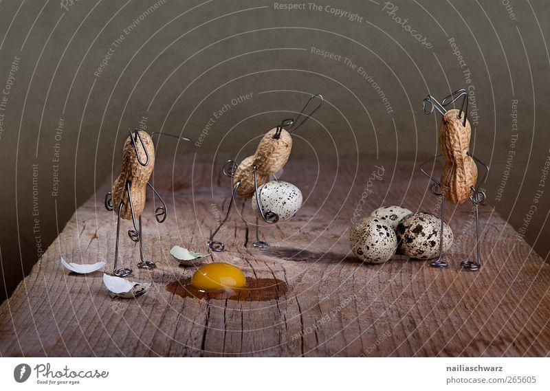 Missgeschick Lebensmittel Ei Wachtelei Erdnuss Eigelb Osterei Ernährung Ostern Holz Metall Arbeit & Erwerbstätigkeit fallen tragen ästhetisch kaputt klein