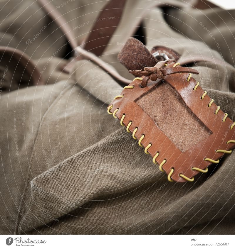 non voyage Namensschild Tasche Rucksack Leder Schilder & Markierungen alt retro braun grün Einnäher leer frei blanko Leinen Textilien Ferien & Urlaub & Reisen