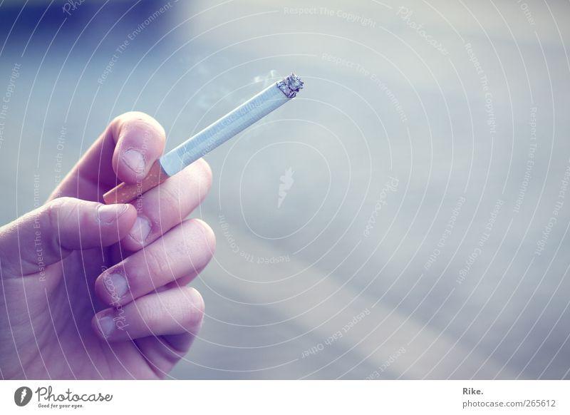 Blauer Dunst. Mensch Jugendliche Hand ruhig Erwachsene Erholung kalt Gesundheit Zufriedenheit Freizeit & Hobby Finger 18-30 Jahre Lifestyle Pause Rauchen Gelassenheit