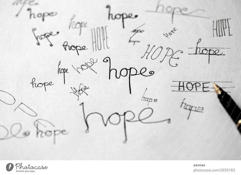 hope, handgeschriebene Varianten mit schwarzer Tinte Füllfederhalter Schriftzeichen schreiben Handschrift gold weiß Gefühle Optimismus trösten Hoffnung