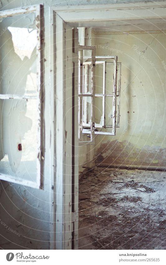 frischer wind alt Fenster Wand Holz Mauer Gebäude hell Stimmung Raum Glas dreckig Beton Häusliches Leben kaputt Vergänglichkeit verfallen