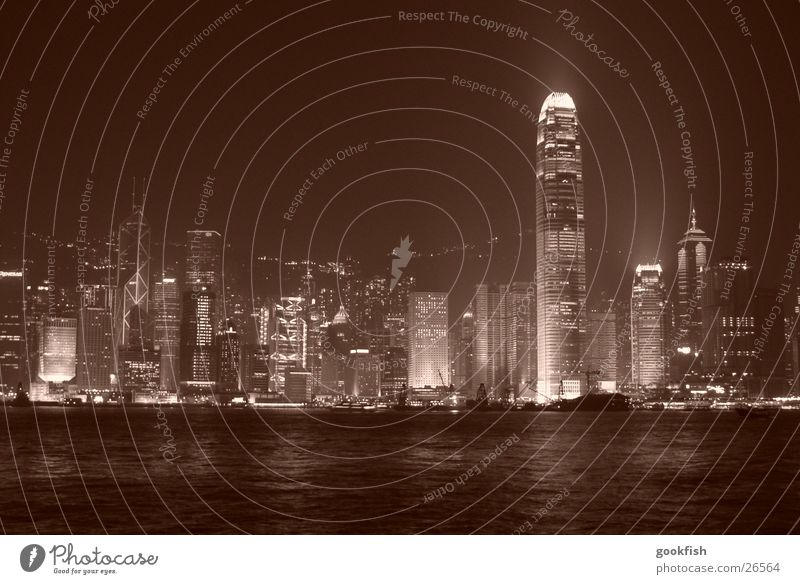 hongkong skyline Haus Hochhaus Fluss Skyline Hongkong China Los Angeles
