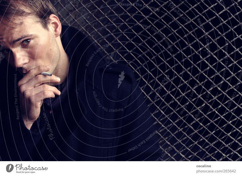 Dean Experiment Lifestyle elegant maskulin Junger Mann Jugendliche Erwachsene 1 Mensch 18-30 Jahre Jacke dunkel Gefühle Stimmung Coolness demütig Sehnsucht