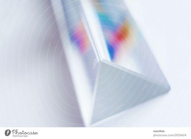 schön weiß Design hell Glas ästhetisch einfach Tiefenschärfe Tapete Material Physik Regenbogen Oberfläche Kristalle glühen Objektfotografie
