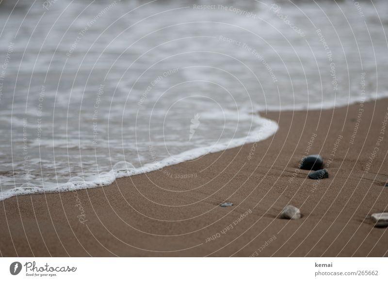 Strandmoment Natur Wasser Meer Strand ruhig Erholung Umwelt Küste Sand Stein braun Wellen liegen Sommerurlaub fließen schlechtes Wetter